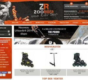 Page d'accueil du site ZooRider, spécialisé urban ride